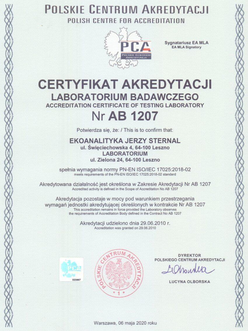 Certyfikat akredytacji PCA AB 1207